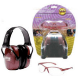 Woman's Shooting Combo Kit - dusty rose earmuff, clear anti-fog Eyewear, R-01727 by Howard Leight